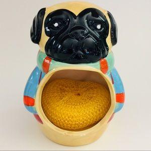 Boston W. Pug Pugly Sweater Scrubby Sponge Holder